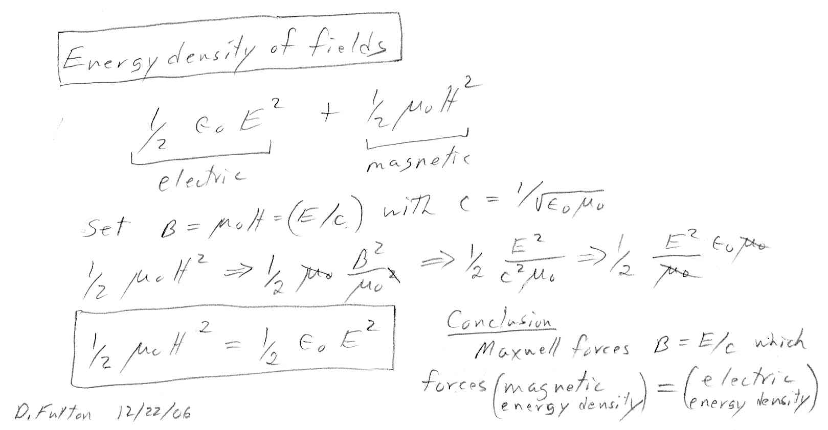 Electric field energy: experiments and formulas 68