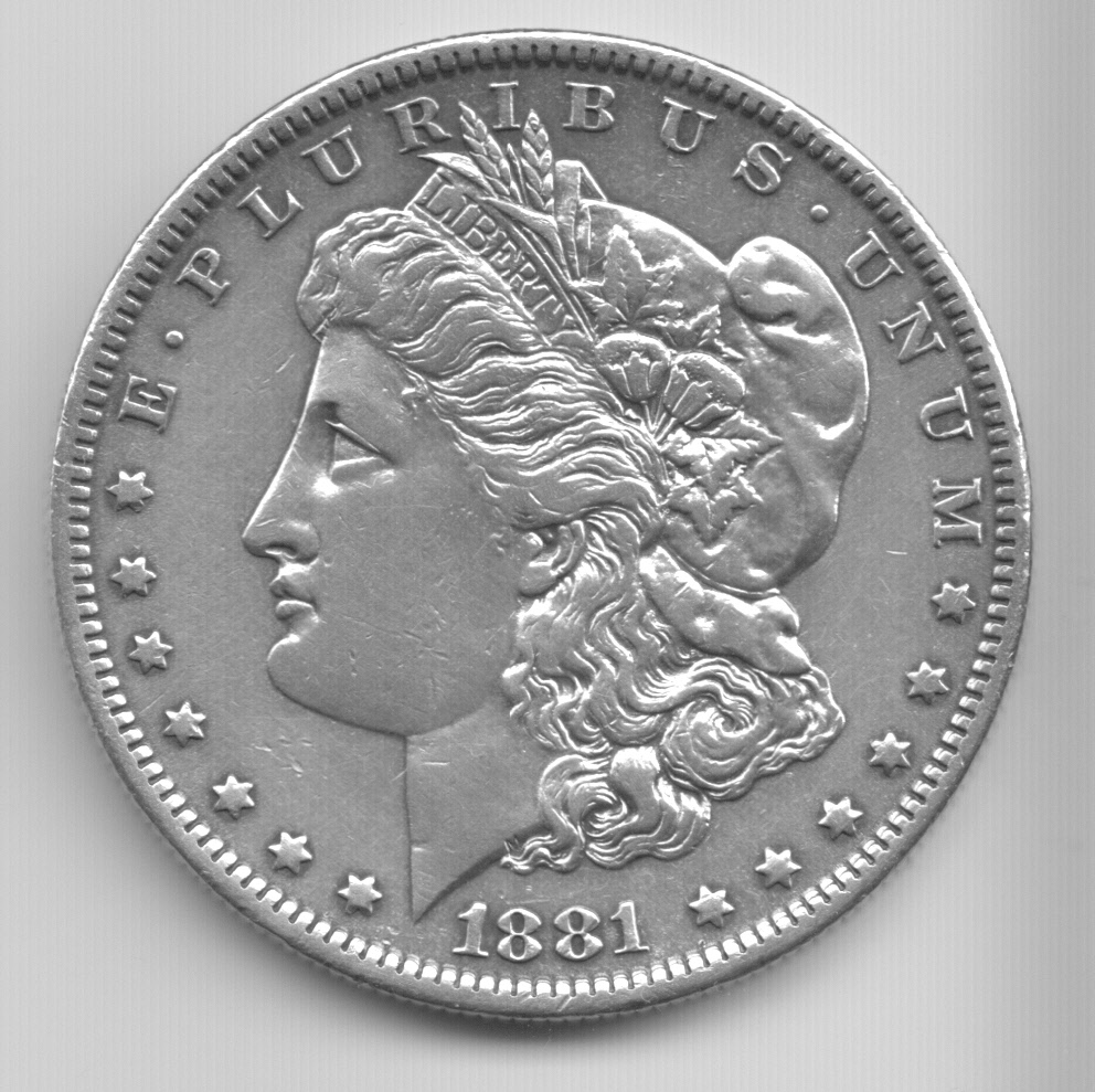 1881 morgan silver dollar, scanned and owned by Don Fulton