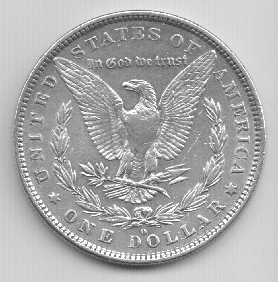 1881 morgan silver dollar, reverse side, scanned and owned by Don Fulton