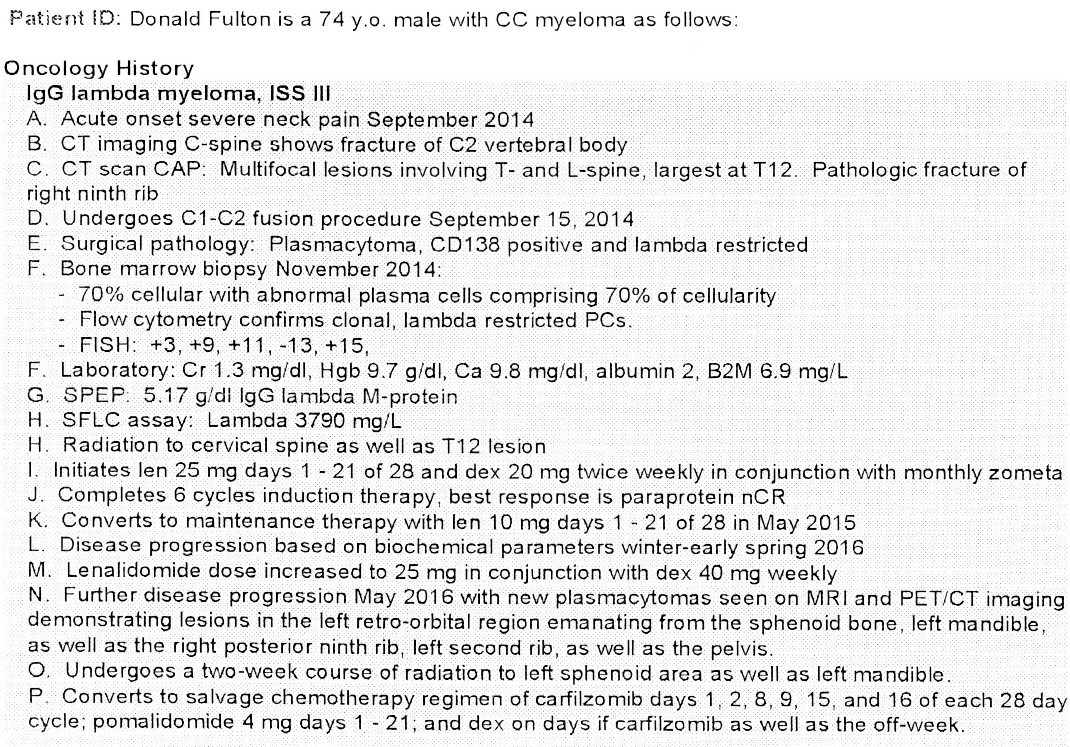 Data Farber MM oncology history summary of Don Fulton (1/18/17)