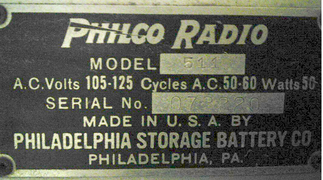 Philco 511 vintage 1928 radio, nameplate, owned by don fulton