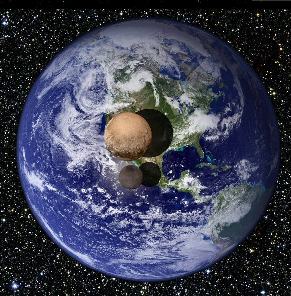 Pluto and Charon to Earth size comparison (source NASA)