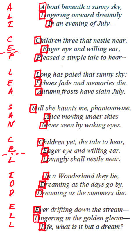 acrostic showijng name of real alice by lewis carroll in 'Alice's Adventures in Wonderland'